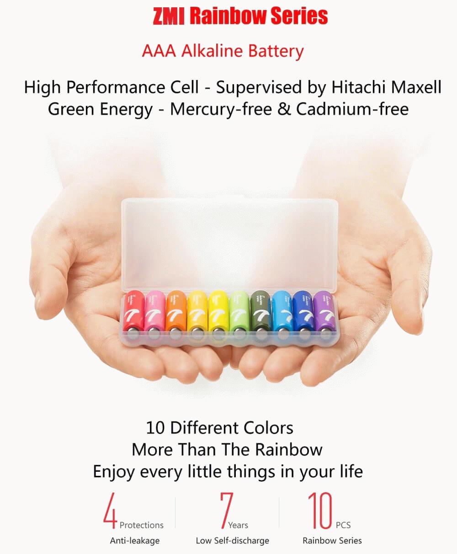 باتری نیم قلمی آلکالاین شیائومی مدل ZI7 بسته 10 عددی - Xiaomi ZI7 Alkaline AAA Battery Pack Of 10