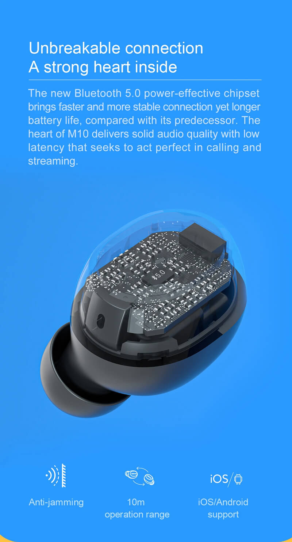 هدفون بلوتوثی کیو سی وای مدل M10 - QCY M10 TWS Wireless Earbuds bluetooth Earphone