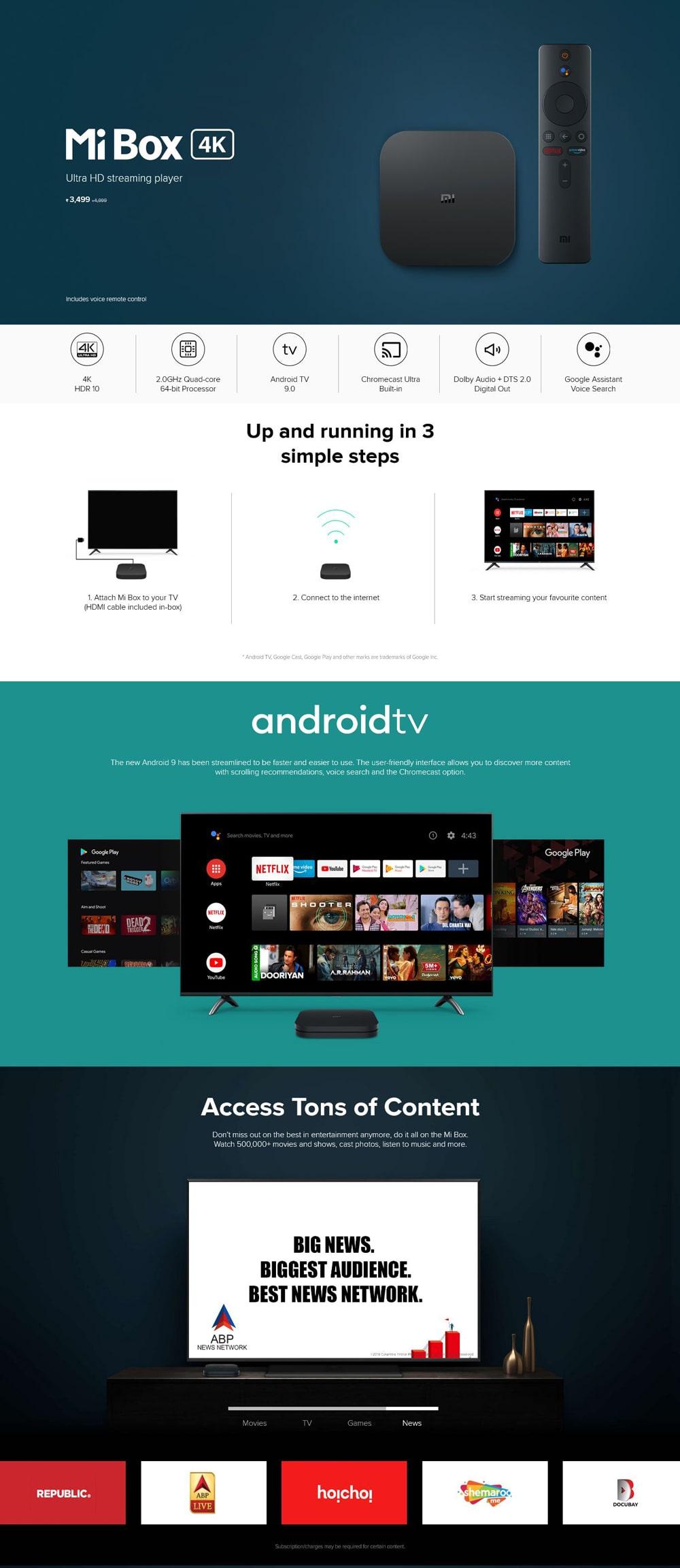 ی وی باکس 4k شیائومی – Xiaomi Mi TV Box 4K