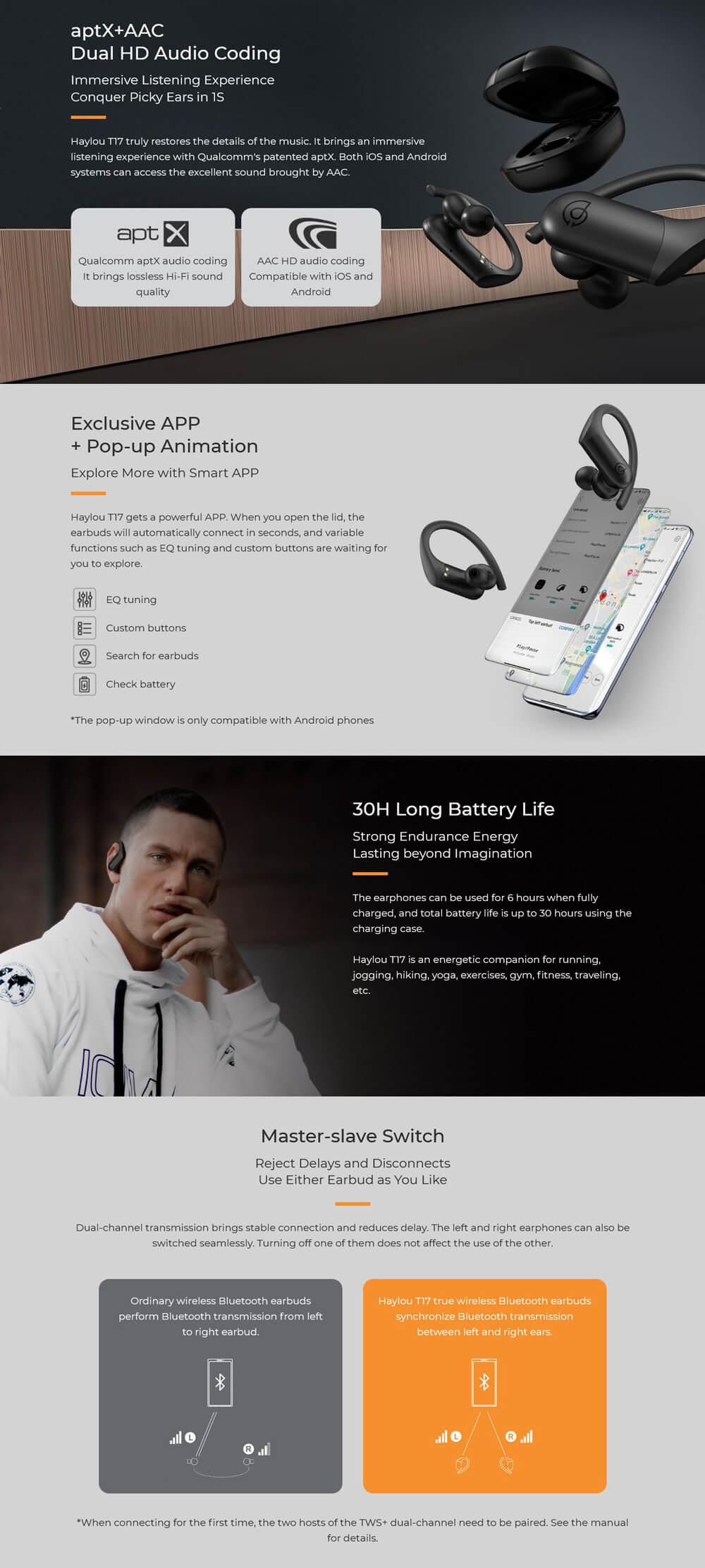 هندزفری بلوتوث دوگوش شیائومی هایلو Xiaomi Haylou T17 AptX TWS Bluetooth Earbuds