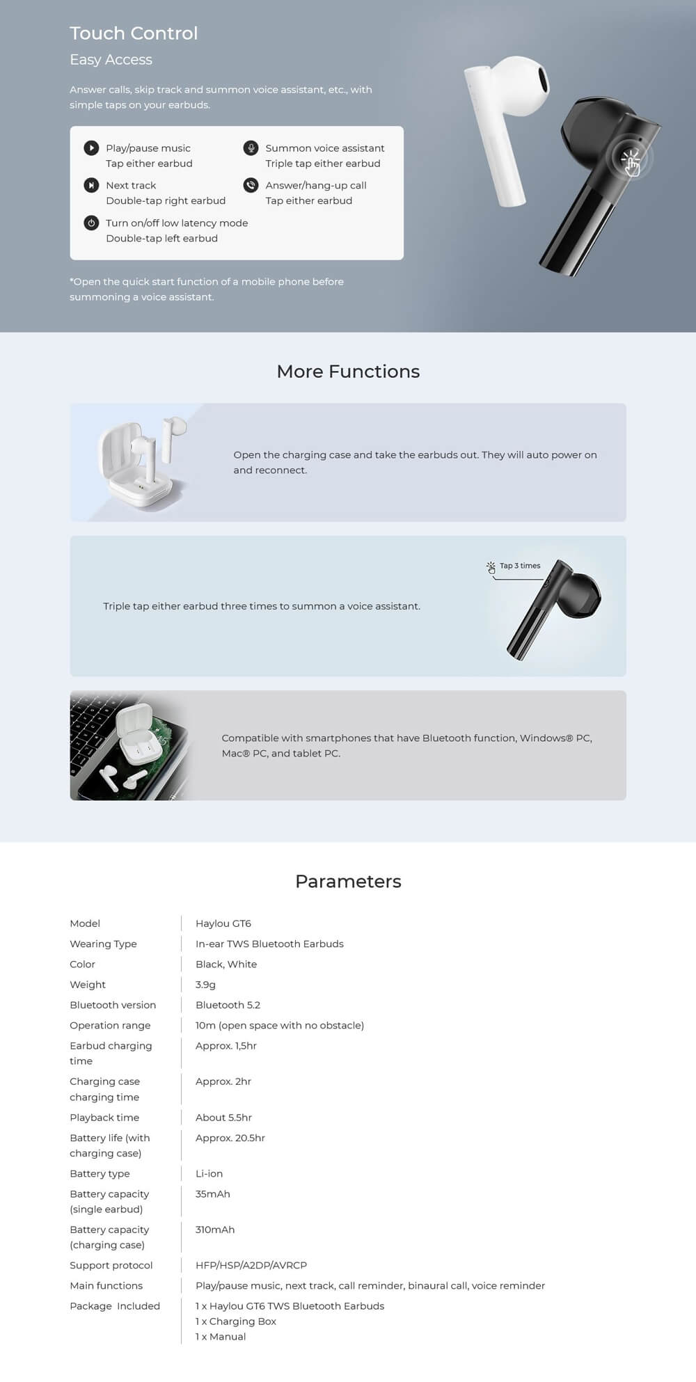 هندزفری بلوتوثی هایلو GT6 - Haylou GT6 TWS Earphones